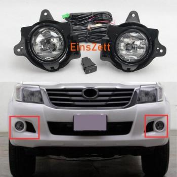 цена на 1set Car Fog Light Assembly For Toyota Hilux VIGO 2012-2016 12V DRL Front Bumper Halogen Fog Lights with Car Accessories