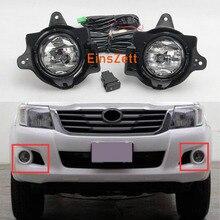 1set Car Fog Light Assembly Kit For Toyota Hilux VIGO 2012-2016 12V DRL Front Bumper Halogen Fog Lights with Car Accessories