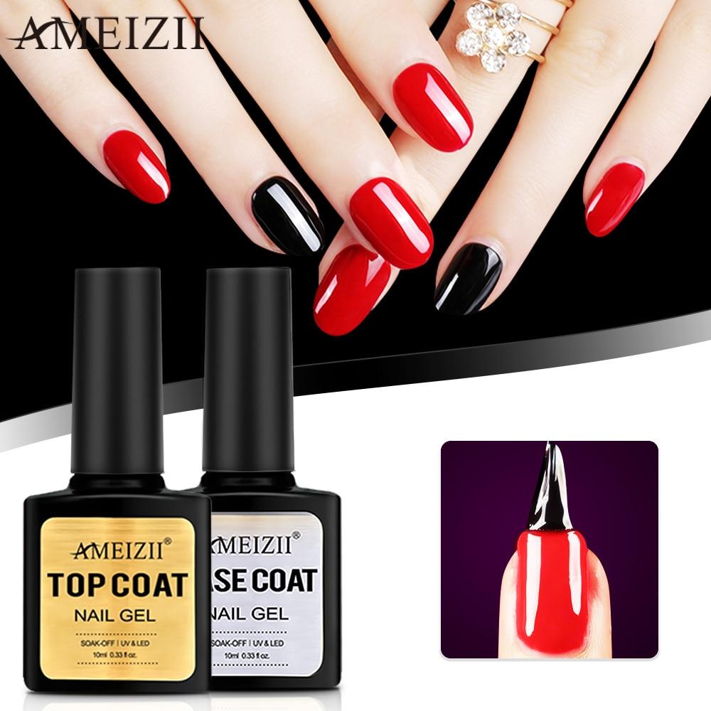 AMEIZII Nail Gel Top Base Coat Soak Off UV LED Nail Polish Primer Builder Fingernail Gel Varnish Transparent Unas Unha De Gel