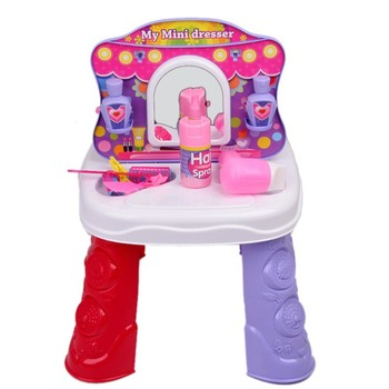 [Funny] Play house toys 2 IN 1 Kitchen set & Dresser mirror/Hair dryer/comb/Hair spray/pan/spoon/kitchen items toys girl gift