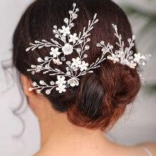 Silver Hair pin Flower Three set of Headdress Wedding women Ornaments Party or Banquet