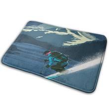 Alfombra Retro con estampado de esquí para sala de estar, tapete para jardín y exteriores