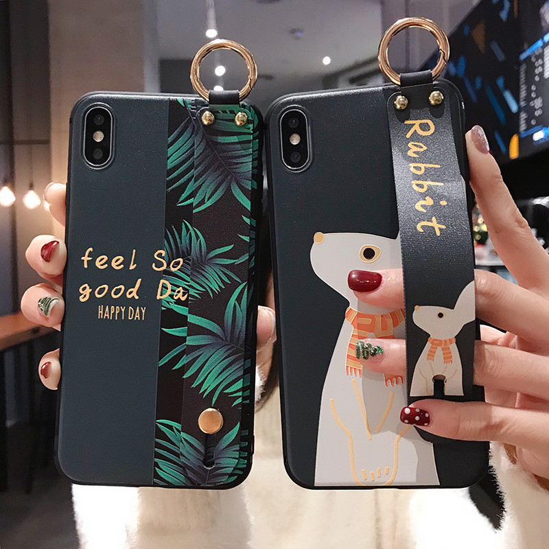 Phone-Case Wrist-Strap Animal-Leaves Shockproof Rabbit Cute 11pro-X-Xs Cover Stand-Holder