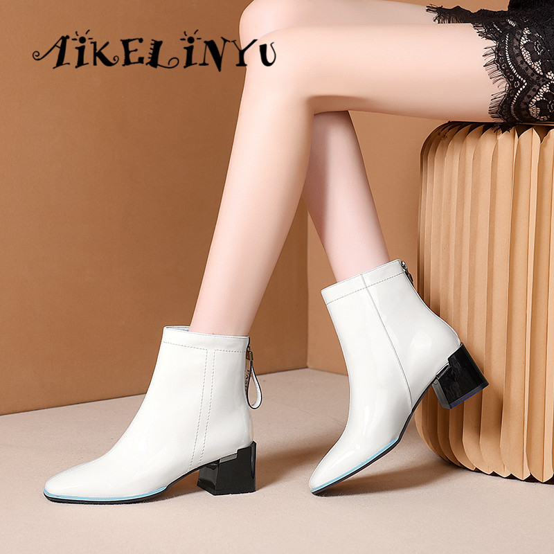 AIKELINYU After Zipper Boots Winter 2019 Women 39 s High Square Heel Shoes Cow Leather Ankle Boots Brand Square Toe Female Footwear in Ankle Boots from Shoes