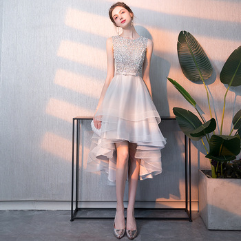 Sparkling Crystal Evening Dresses R225 Sleeveless Women Party Gowns O-Neck Elegant Crepe Dress A-Line Zipper Back Formal Vestido