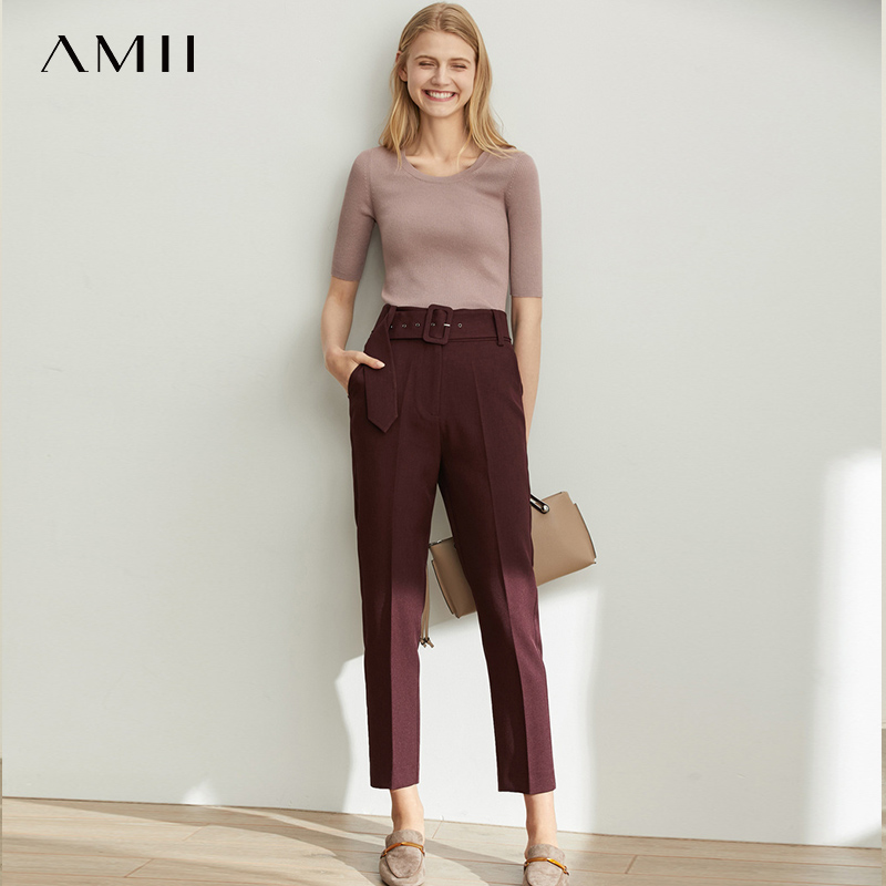 Amii Spring Simple European Fashion Casual High Waist Pants Women New Straight Tube With Belt Pipe Pants 11920172