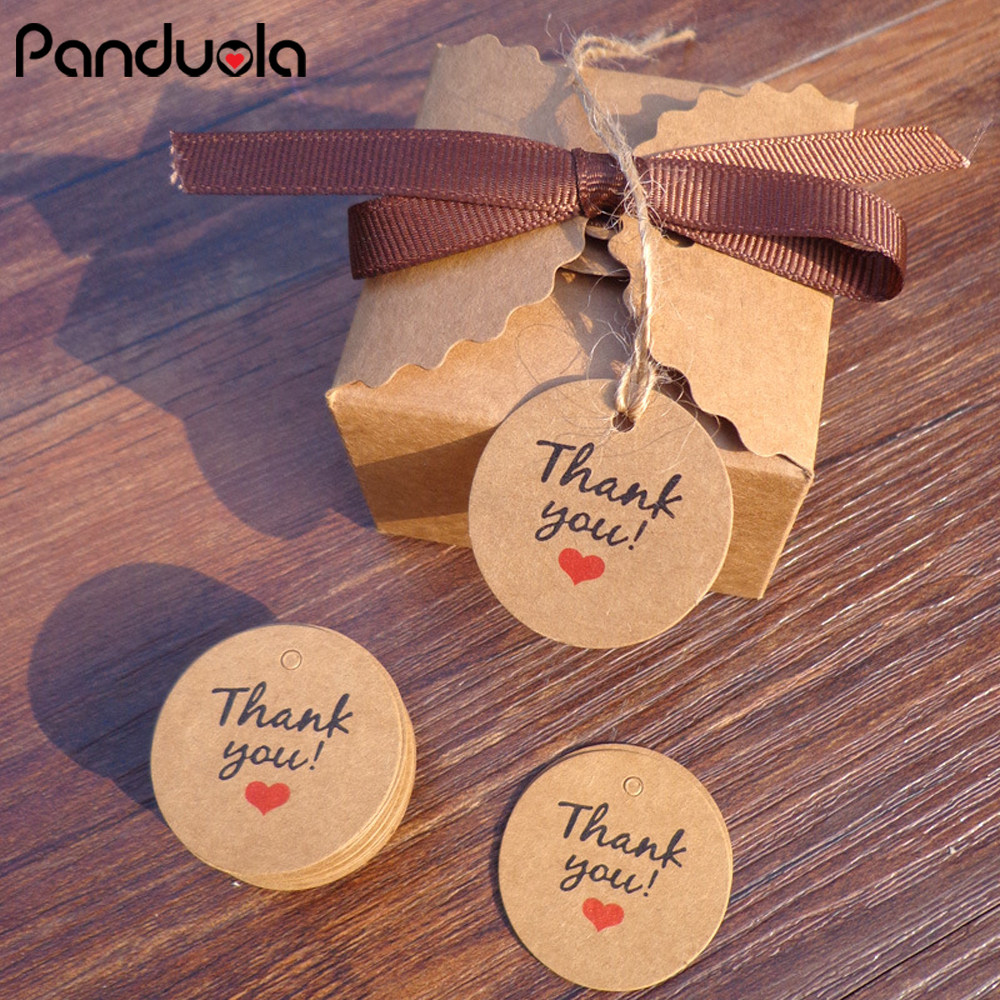 New Round DIY Kraft Paper Gift Tags for Candy Box Decor Stickers Wedding Favors and Gifts Box Thank You Tag Party Supplies