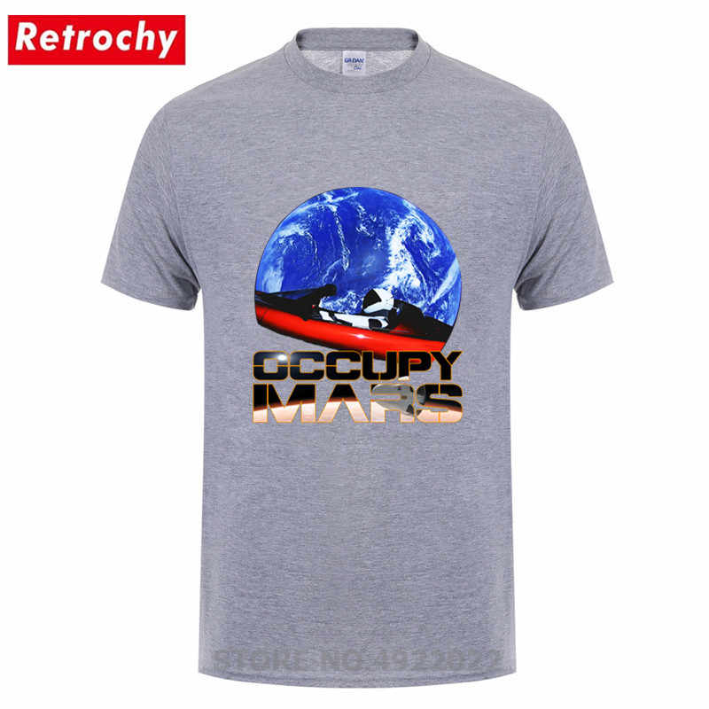 Yenilik işgal toprak SpaceX Starman T Shirt erkek % 100% pamuk Elon misk uzay X T-Shirt yaz Camisetas erkek Tshirt yok panik