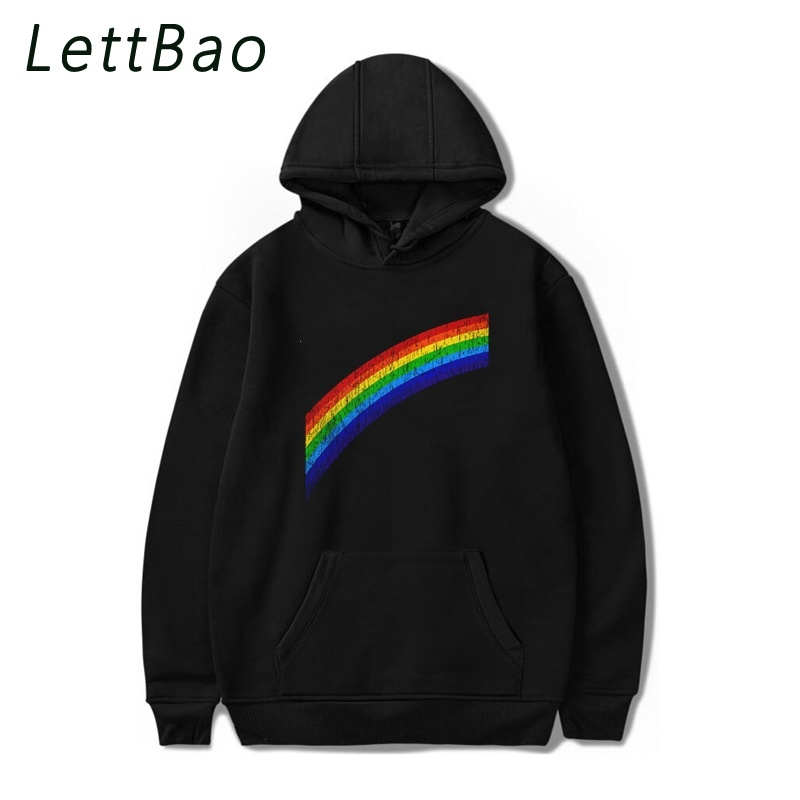 Rainbow In The Rain Harajuku Men Hoodies Korean Sweatshirts Women Unisex Cotton Oversized Hoodies Women Long Hoodie Free Shiping