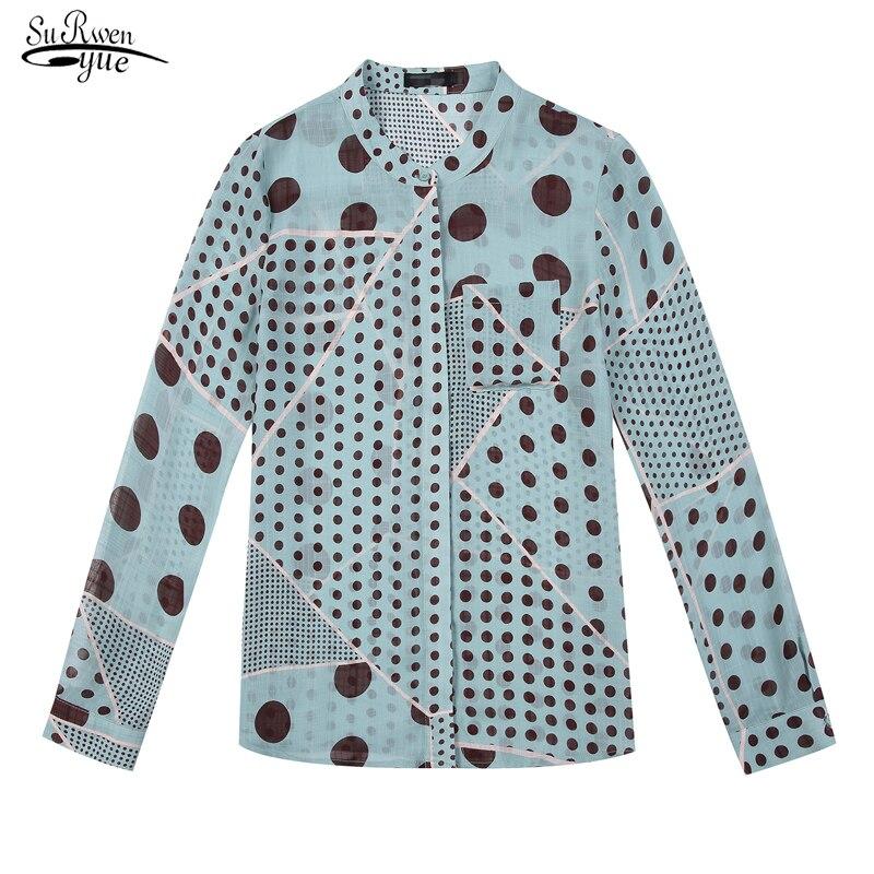 2019 New Long Sleeve Polka Dot Blouse Women Shirt Cardigan Casual Plus Size Printed Women Blouse Tops Chemisier Femme 6453 50