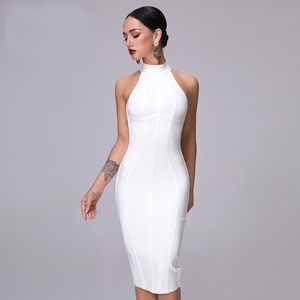 Image 2 - SUE DREAM Womens 2020 New Sexy White High Neck Sleeveless Bandage Dress And Knee Length Sexy Bodycon Runway Dresses
