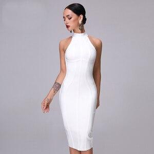 Image 2 - Женское платье без рукавов SUE DREAM, Белое Облегающее Платье с высоким воротом и длиной до колена, новинка 2020