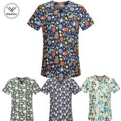 Новая медицинская одежда, подходящая для женщин и мужчин, с мультяшным принтом, 100% хлопок, больничные скрабы для кормления, топы, клиническа...