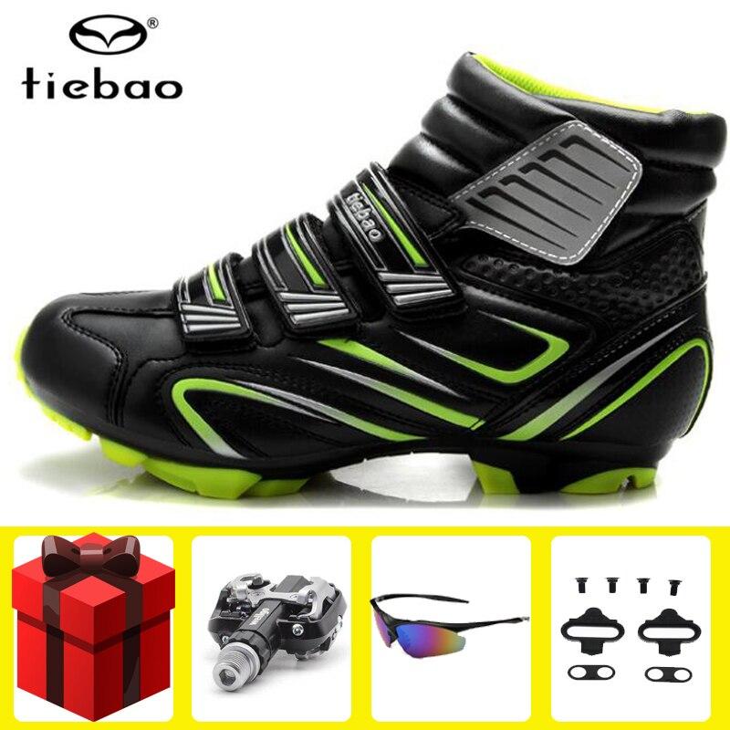 Sapatos de Inverno Tênis de Ciclo de Auto-bloqueio de Bicicleta de Montanha Tiebao Ciclismo Pedal Conjunto Sapatilha Mtb Inicialização Spd