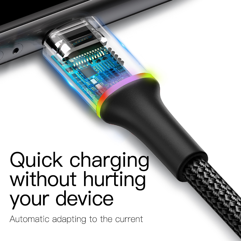 Baseus Micro USB Cable 2A 3A Fast Charging Charger With LED Lighting Mini usb Cable 3M For Xiaomi Android Mobile Phone Wire Cord 4