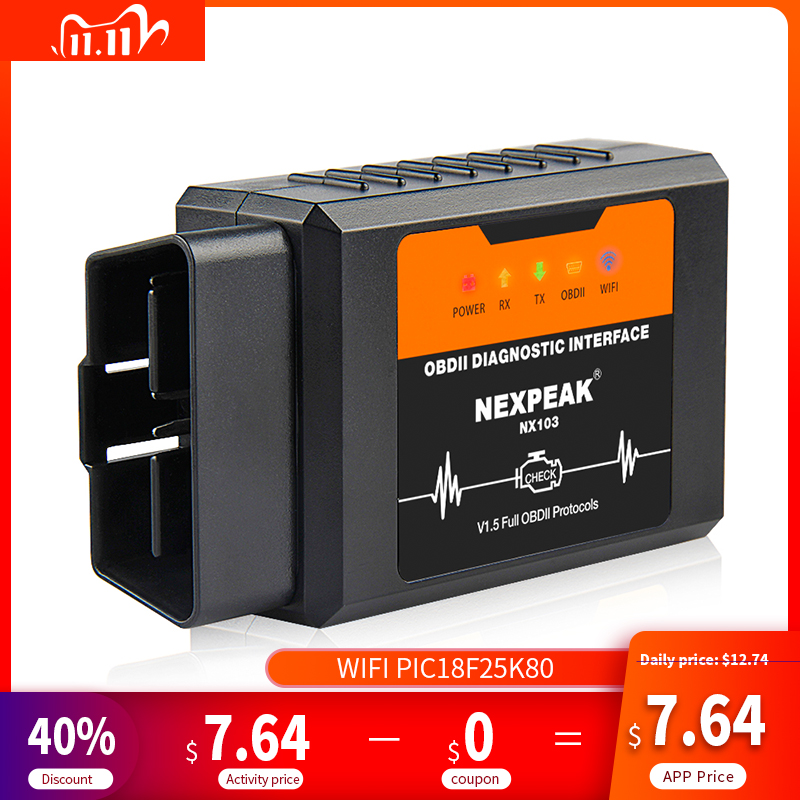 ELM327 1 5V OBD2 Scanner WIFI PIC18F25K80 ELM327 Car Diagnostic Tool for Android IOS iPhone Windows ELM 327 OBD 2 Autoscanner