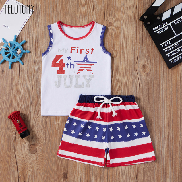 Baby Outfits Independence Day Sleeveless Letters Stars Infant Baby Boys 4th-of-july Stars Striped Printed Patriotic Tops Shorts 1