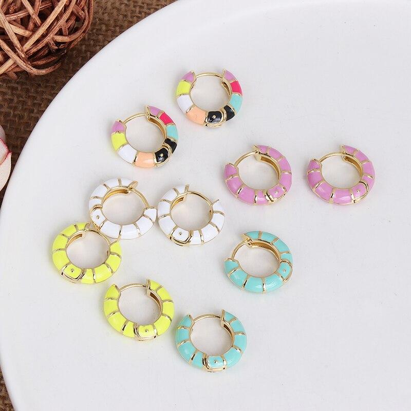 FASHIONSNOOPS Bohemian Copper Earrings For Women Wedding Party Statement Jewelry Round Enemal Earring Gift Wholesale