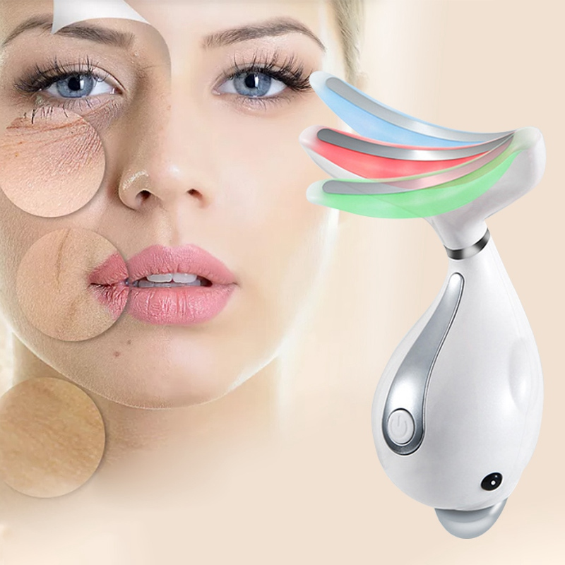 Practical Led Face Light Therapy Neck Massager Double Chin Wrinkle Removal Beauty Spa Product Skin Lifting Tighten Neck Women