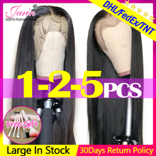 Peluca con malla Frontal Janin, pelucas de cabello humano rectas de 13x4, pelucas de cabello humano con Frontal de encaje recto brasileño de densidad 150%, pelucas Remy Janin