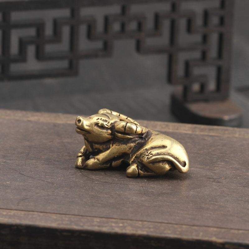 Figurita de protección de bronce coleccionable Lucky Buffalo Feng Shui decoración Interior 6 unids/lote atrapasoles de cristal Feng Shui prismas colgante péndulo colgante decoración de ventana 20mm