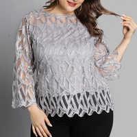 6XL Plus Größe Blusen Geometrische Mesh Patchwork Shirts Frauen Transparente Hülse Tops Elegante Büros Dame Bluse Blusas Mujer D30