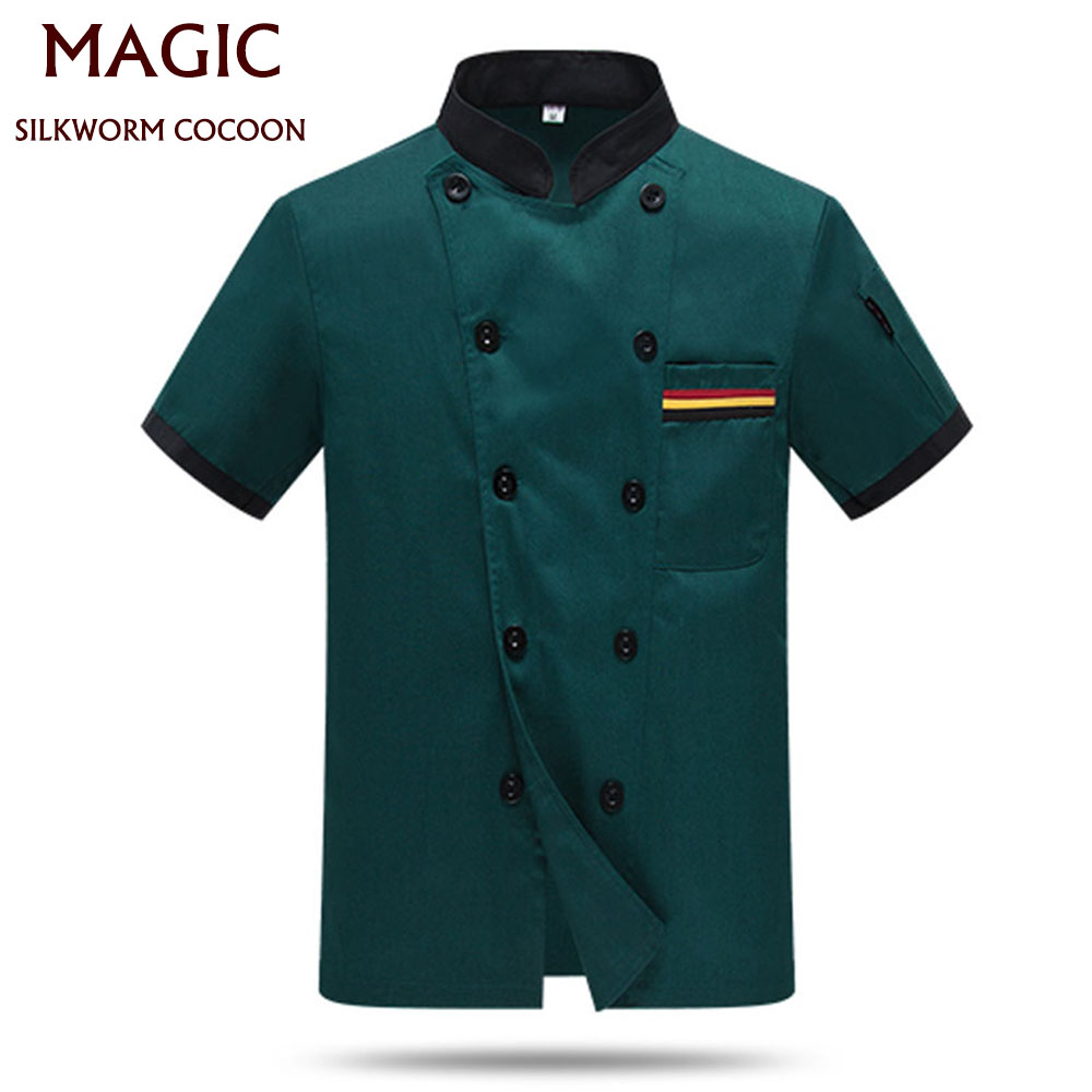Green Food Chef Uniform Unisex Restaurant Kitchen Chef Shirt Short Sleeve Chef Jacket Cap+apron Works Clothes For Men Wholesale
