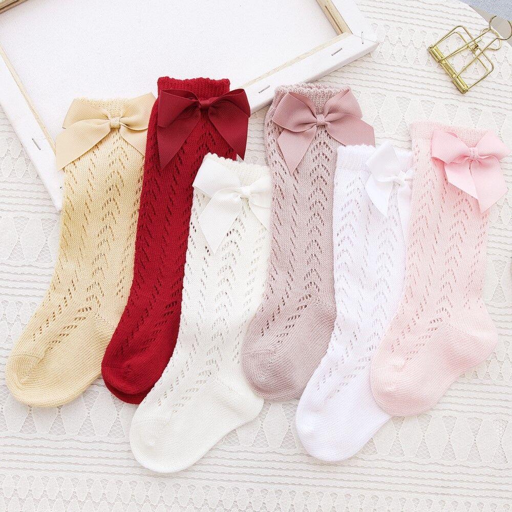 Cute Girls Knee High Socks Bows Cotton Breathable Soft Children Socks Hollow Out Non-slip Newborn Infant Long Socks 0-3Years 4