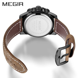 Image 2 - MEGIR Creative Wristwatch Man Watch Waterproof Leather Mens Watches Top Brand Luxury Chronograph Sport Watch Relogio Masculino