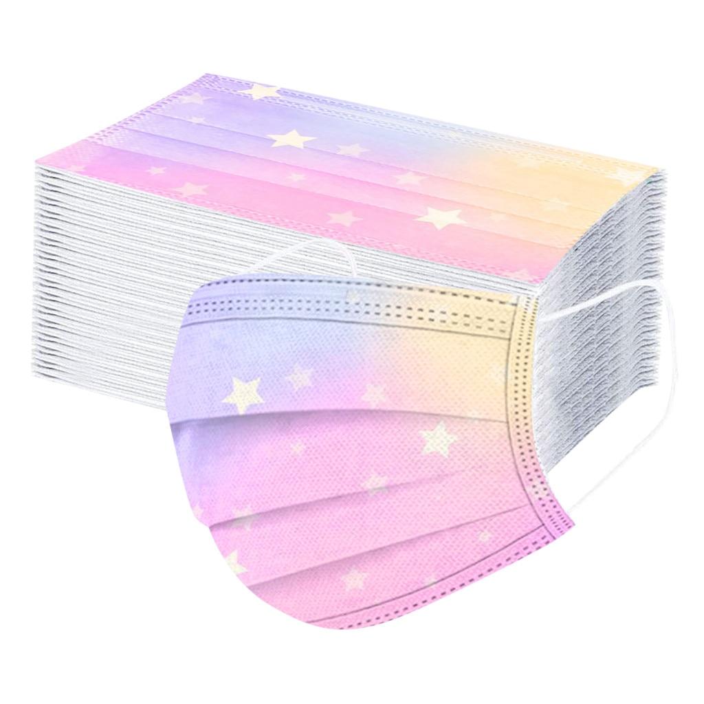 50pcs masques de bouche pour enfants étoiles jetables cravate-colorant dégradé imprimé Masque facial 3ply boucle doreille couverture de visage Masque Enfant Jetable