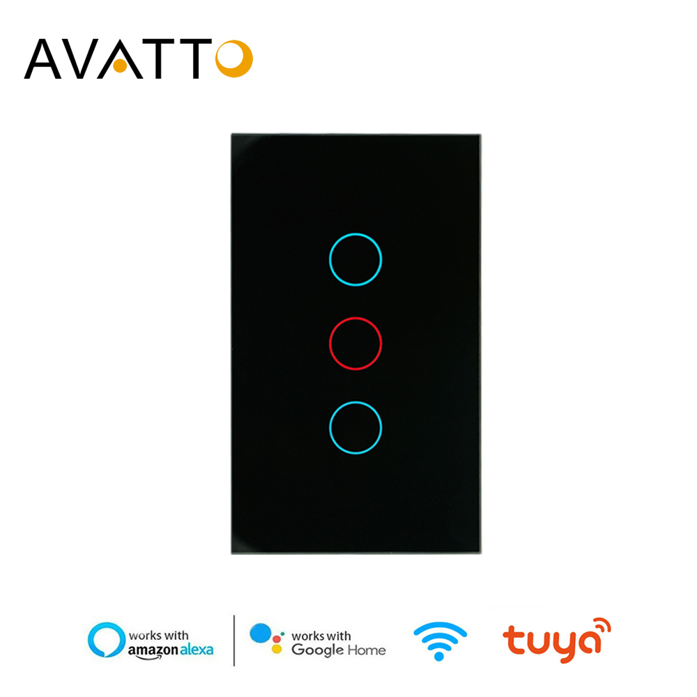 AVATTO Tuya US Wifi Wall Switch, Smart Light Switch, Glass Panel Touch-Sensor Interruptor 1/2/3 Gang Work With Alexa,Google Home
