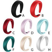Padded Wide Sponge Glitter Women Headband Candy Color Hair Hoop Vintage Thick Elastics Headpiece
