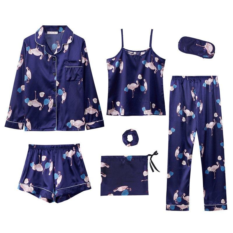 7 Pieces Women Silk Satin Pajamas Sets Pyjamas Set Sleepwear Pijama Pajamas Flower Print Female Sleepwear Loungewear