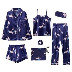 Image 1 - 7 pezzi Delle Donne Raso di Seta Pajamas Set Pigiama Set di Indumenti Da Notte Pijama delle donne Del Fiore Della Stampa Femminile Degli Indumenti Da Notte Loungewear