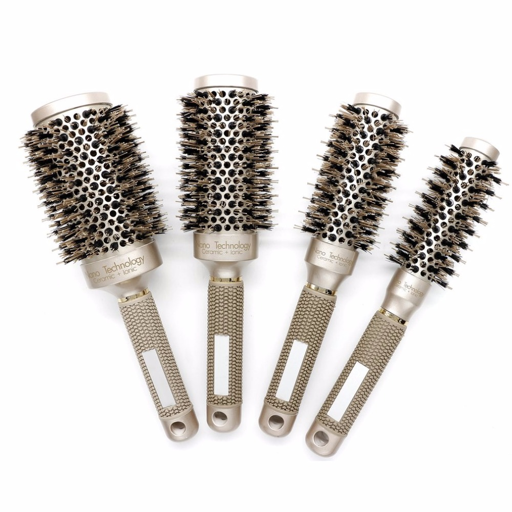 2018 Ceramic Aluminium Professional Tangle Hair Comb Hair Brush Hairbrush Round Hairdressing Combs For Salon Barber Styling Tool