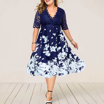 Plus Size Women Summer Dress Patchwork Flower Large Size Evening Party Lady Midi Dress Sexy Lace Calf Elegant Female Dress D25 1