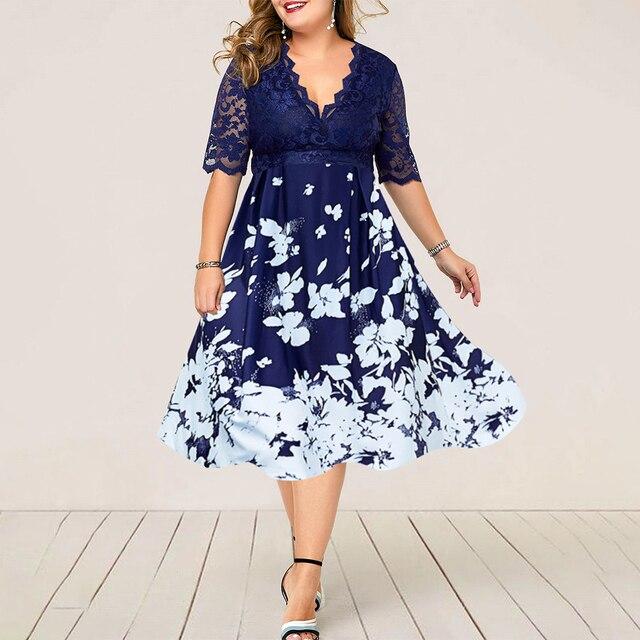Plus Size Women Summer Dress Patchwork Flower Large Size Evening Party Lady Midi Dress Sexy Lace Calf Elegant Female Dress D25 1