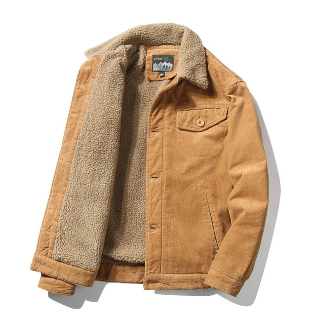 Mcikkny Men Warm Corduroy Jackets And Coats Fur Collar Winter Casual Jacket Outwear Male Thermal 2