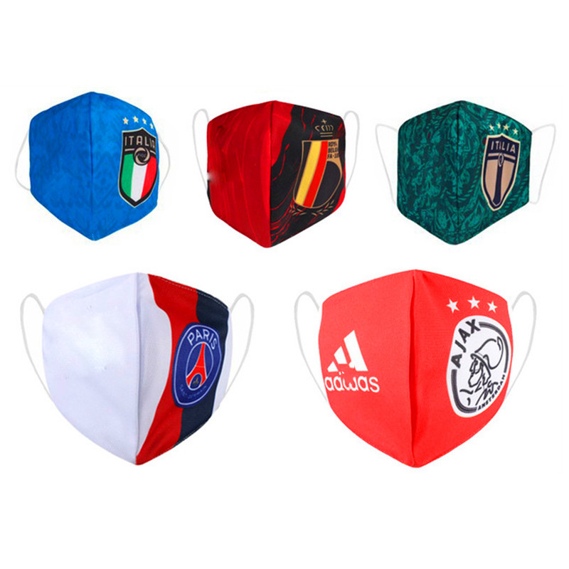 Soccer Fan 32 Football Teams Countries Mask Print Face Masks Reusable Mask Fabric Dust Masks  Elastic Earloops Safey Masks