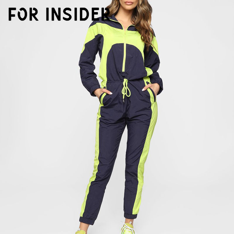 For Insider Neon Green patchwork fitness jumpsuits autumn Full sleeve zipper turtleneck jumpsuit Casual sport female jumpsuits in Jumpsuits from Women 39 s Clothing