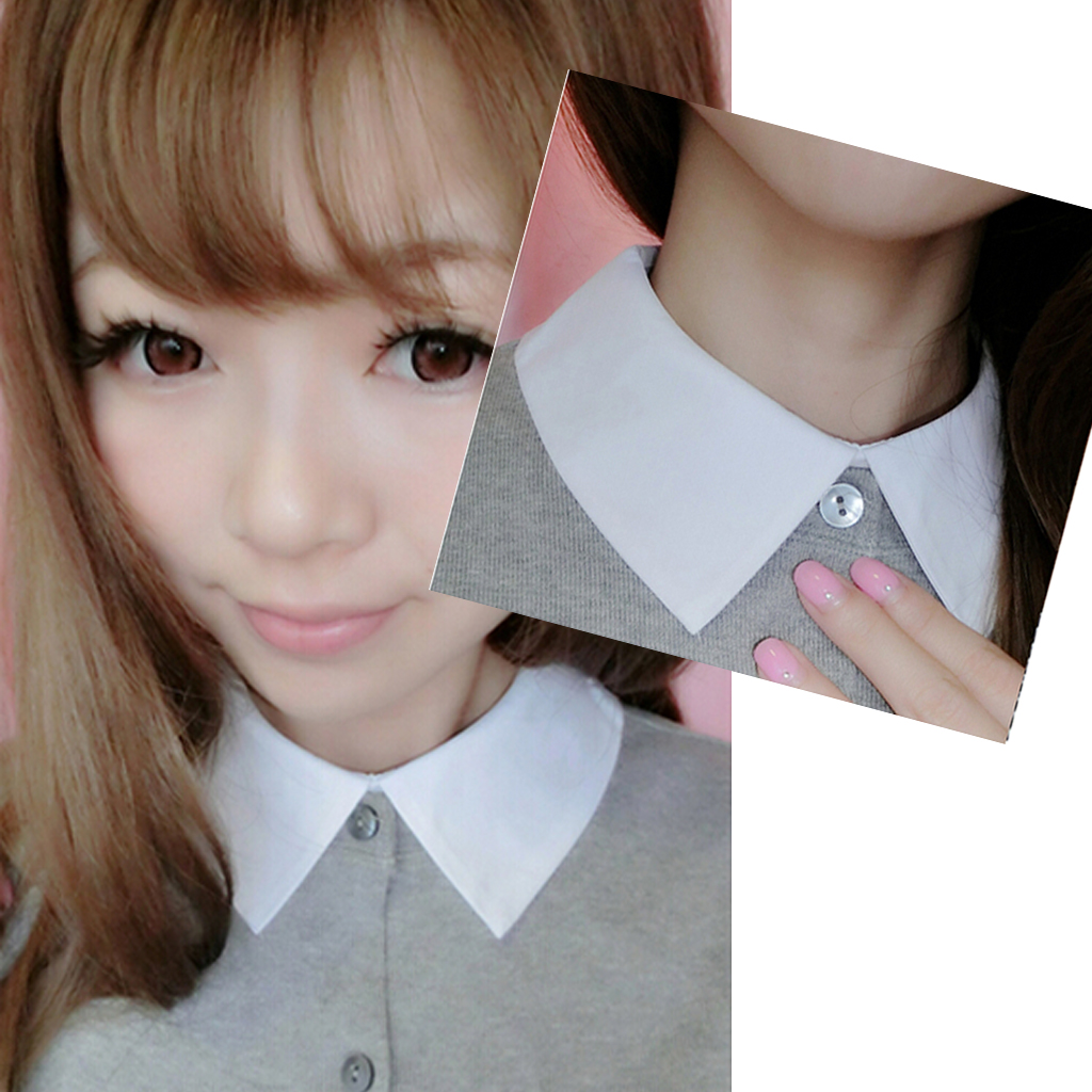 Lady Half-Shirt Blouse Detachable Fake Collar Dicky Collar  White Women Cotton Fake Collar Detachable Solid Lapel Necklace