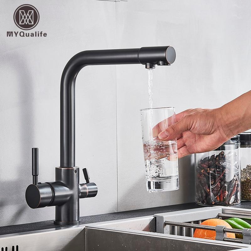 Смеситель для кухни из хромированной латуни с двойной ручкой, 3-сторонний фильтр для горячей и холодной питьевой воды, смесители для кухни