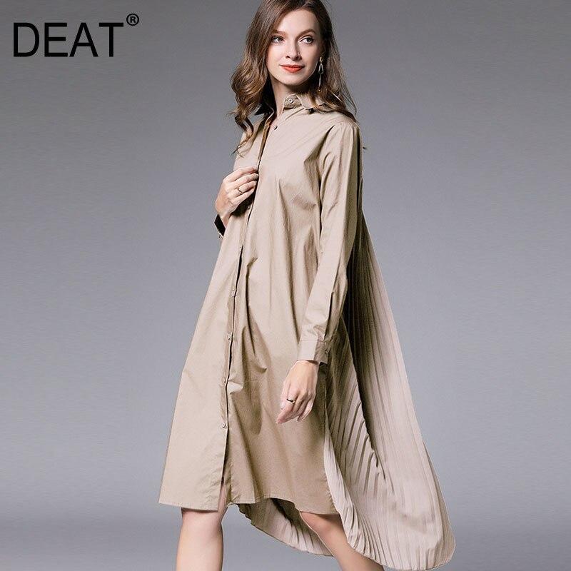 DEAT 2021 Новая мода Большой Размеры XL-4XL женская рубашка платье с длинными рукавами с отворотом с плиссированной спиной до колена Длина Свободн...
