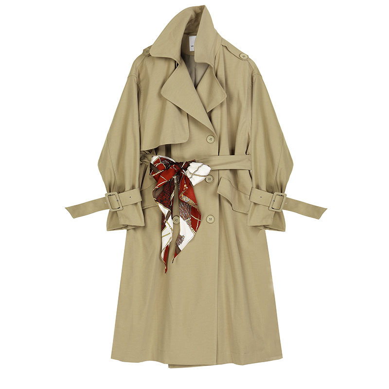 [EAM] Women Khaki Print Belt Big Size Long Trench New Lapel Long Sleeve Loose Fit Windbreaker Fashion Autumn Winter 19 1B467 4