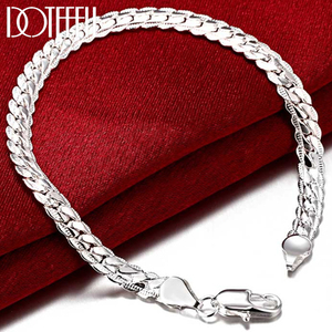 DOTEFFIL 925 Sterling Silver 6MM Full Sideways Bracelet For Women Men Chain 20cm Bracelet Fashion Wedding Engagement Jewelry