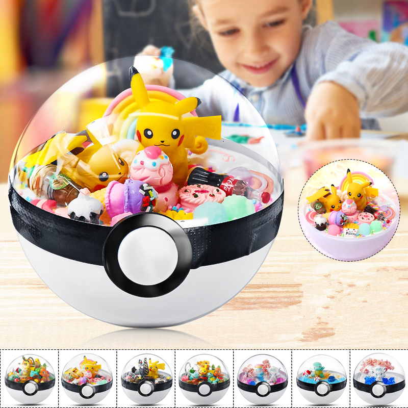 Transparent Ball Pika Charizard Squirtle pokemones Action Figure Toys Room Decoration Gift for Kids Christmas Gifts for Pikachu image