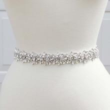 MissRDress cinturón hecho a mano con diamantes de imitación para mujer, accesorios para vestido de noche de boda, cinturón de novia