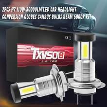2 шт. H7 светодиодный 110 Вт 30000LM светодиодный автомобильных фар преобразования основного хода шарообразные, выпуклые лампочки Canbus луча 6000K ком...