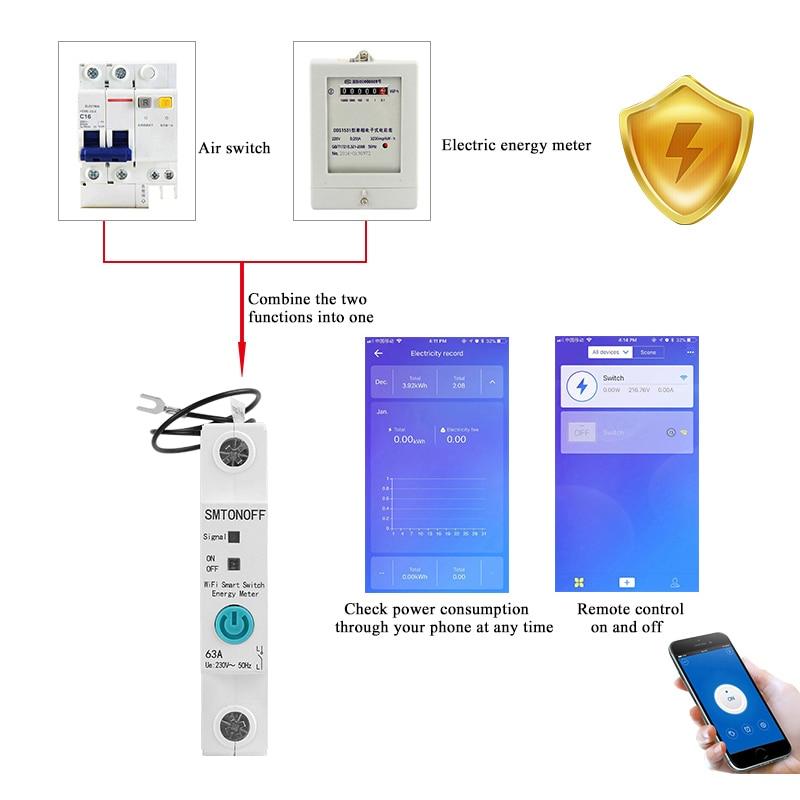 1P eWelink Single phase Din rail WIFI Smart Energy Meter Power Consumption kWh Meter wattmeter with Alexa  google for Smart home 2