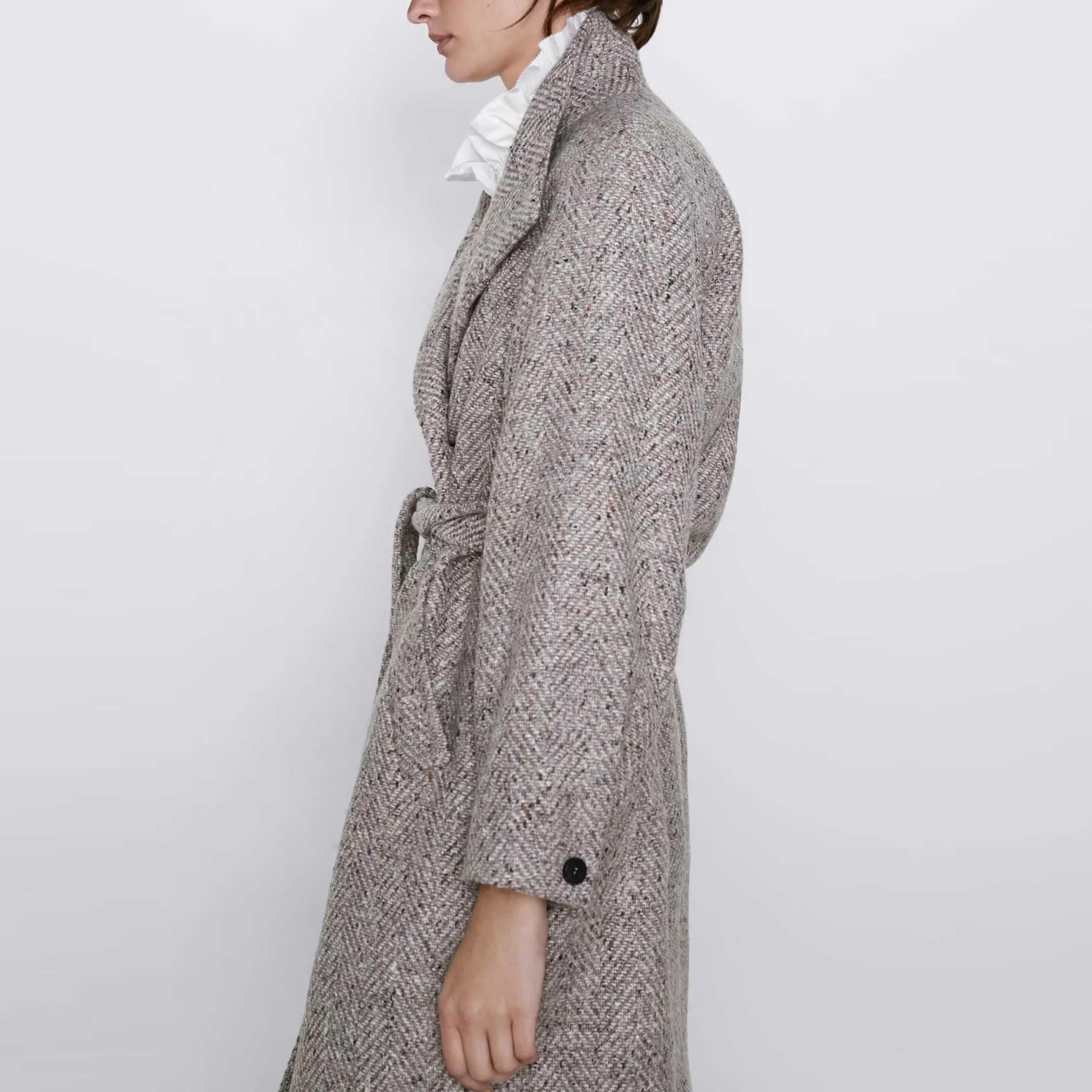 Za outono inverno lã tweed casaco feminino grosso gola alta sólida faixas casual feminino blusão outerwear lã trench feminino